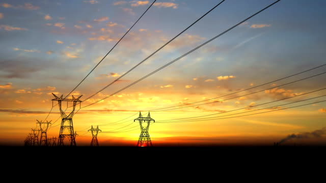 Electricity pylons. video