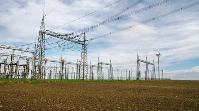 Electricity Substation tracking shot video