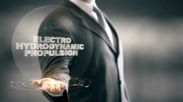 Electro Hydrodynamic Propulsion with hologram businessman concept video