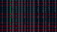 Electronic table with stock market indexes going up down, world financial crisis video