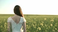 Elegant Beautiful Young Bride Vintage Dress Walking in Field video