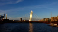Elegant cable stayed Crusell bridge connect Helsinki modern districts video