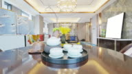 elegant ceramic crockery on table in luxury living room video