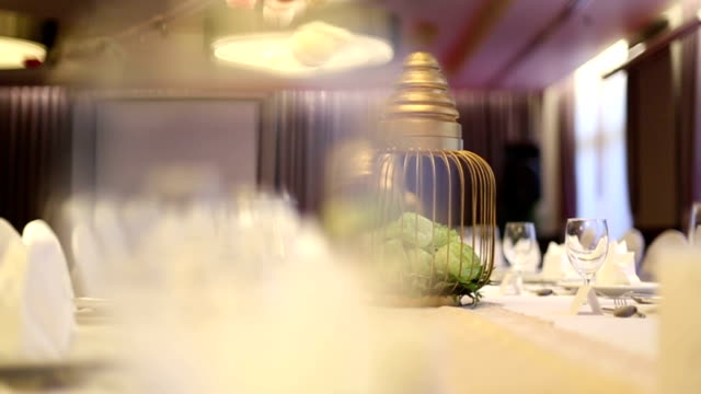 Elegant dinner table setting at reception video