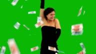 Elegant Girl Dancing, Money Falling video
