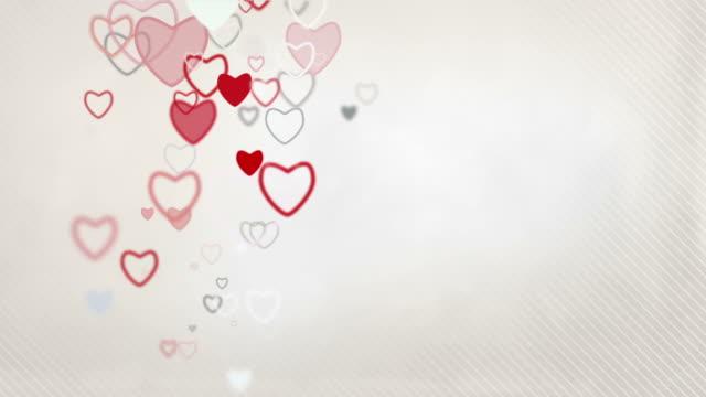 Elegant Hearts Background Loop - Pastel Red & Grey (Full HD) video