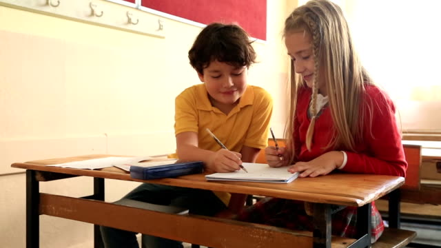 Elemantary students in classroom video