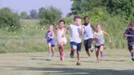 Elementary Children Running Outdoors video