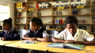 Elementary class reading in school library video
