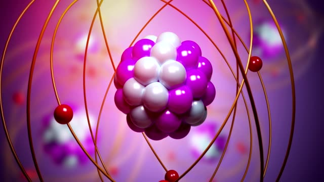 Elementary particles moving in atom. Physics concept. 3D rendered looping animation. video