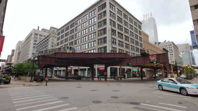 Elevated Metro in Chicago Loop Financial District video