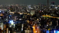 Elevated pan view of Tokyo city lights. video