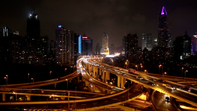Elevated Roads in Shanghai at Night video