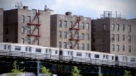 Elevated Subway Train in Bronx New York City Ghetto NYC video