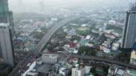T/L WS Elevated view of Bangkok city at morning video