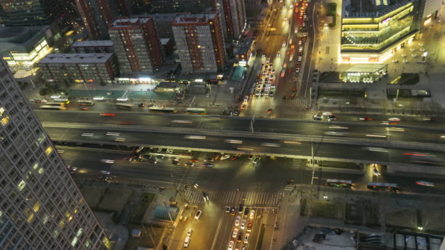 T/L MS HA ZI Elevated View of Beijing Highway at Dusk video