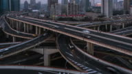 T/L WS ZO Elevated View of Shanghai Highway video