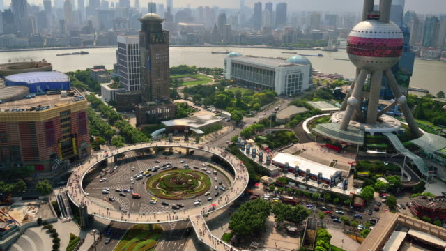 Elevated view of Shanghai Lujiazui Annular Overpass, Time lapse video