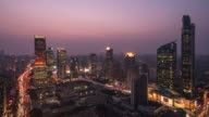 T/L WS ZO elevatet view of Shanghai downtown Cityscape day to night video