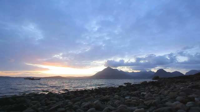 Elgol Isle of Skye, Scotland Beach Sun set Timelapse video