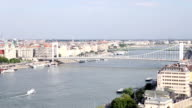 Elisabeth bridge on Danube river Budapest video