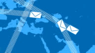 Email Envelopes Flying Around the World video