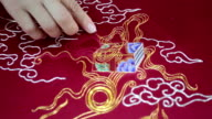embroidery , close up video