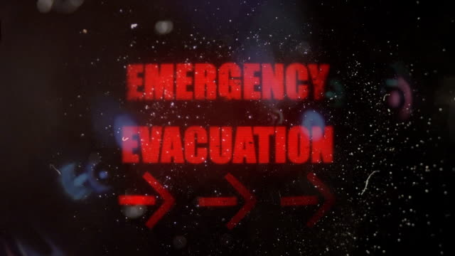 Emergency Evacuation With Pointing Arrows Alert on an Old Dirty Screen video