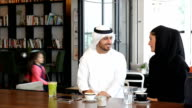 Emirati family at cafe video