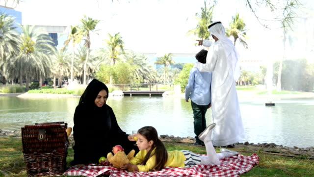 Emirati family at picnic video