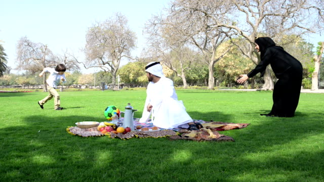 Emirati family having fun at picnic video