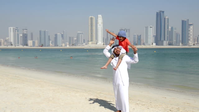 Emirati father and son on the beach video