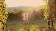 SLO MO Emotional couple in the vineyard video