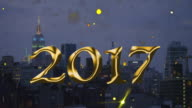 Empire State building New Year New York count down 2017 video