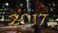 Empire State building New York New Year silver glitter countdown video