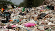 Employees and Scavengers are processing waste in Dump site video