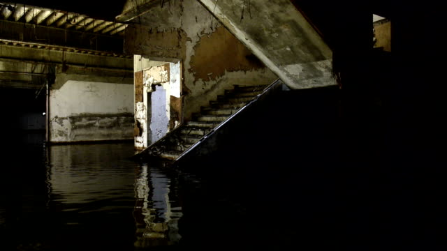 Empty Abandoned Flooded Building Interior video