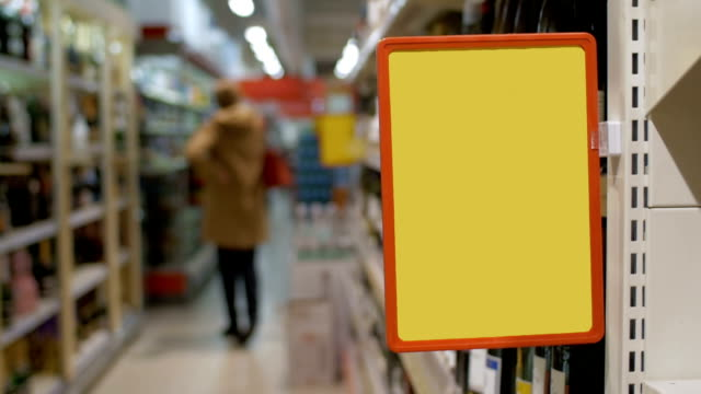 Empty advertising board in the supermarket video