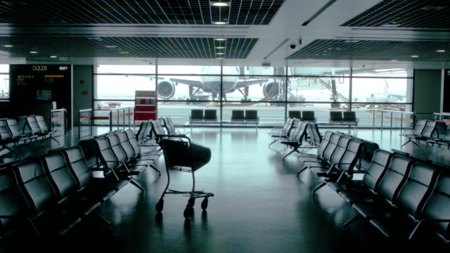 Empty airport waiting area near gate at Shanghai Pudong airport. video