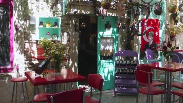 Empty café bar restaurant on day time, Foca, Izmir, Turkey video