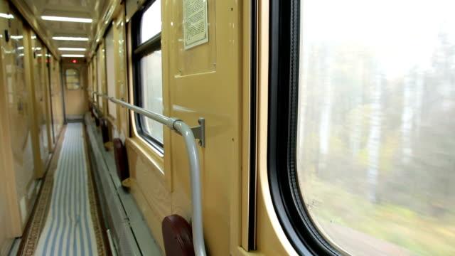 Empty corridor of passenger compartment car video