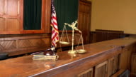 Empty Court bench with gavel - Two Shots(USA Flag) video