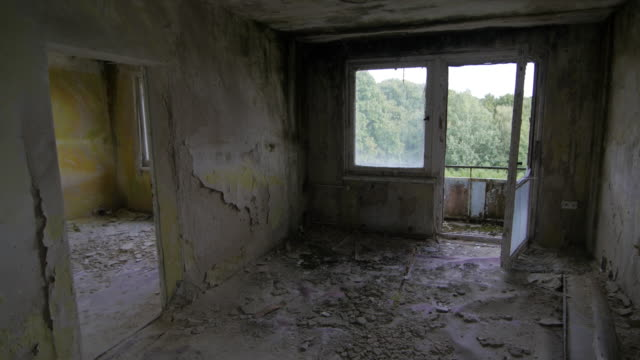 Empty cracked room of an abandoned building video