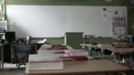 Empty Desks in School Classroom Rack Focus (4K) video