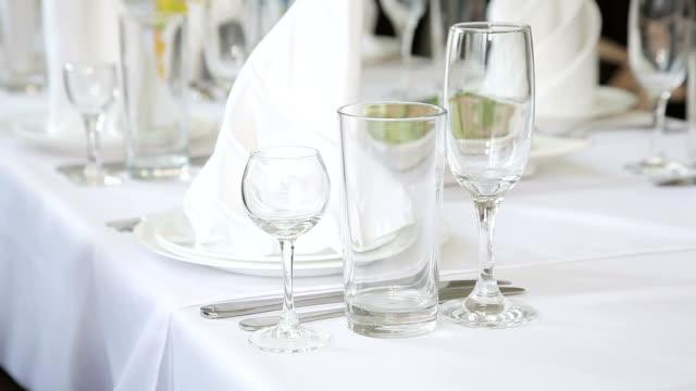 Empty glasses set in restaurant video
