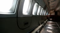 Empty interior of old airliner video