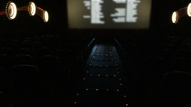 Empty movie theater with final credits rolling video