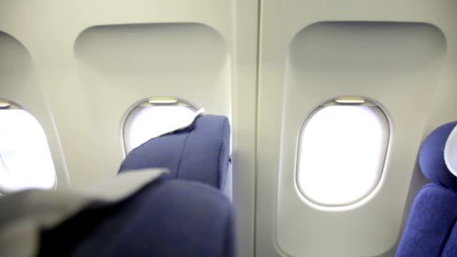 Empty Passenger seats and plane windows video