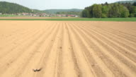 AERIAL: Empty plowed soil lines on farming field prepared for crop planting video