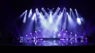 Empty Stage at Concert with white and blue lights video